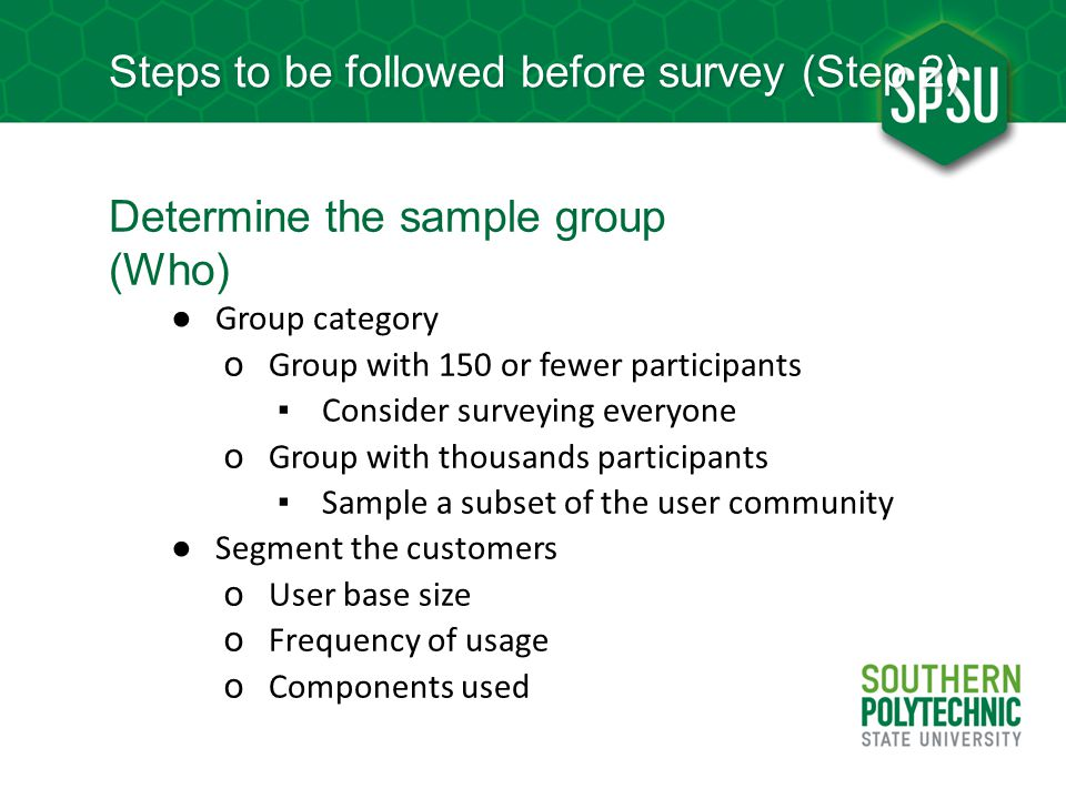 Steps to be followed before survey (Step 2)