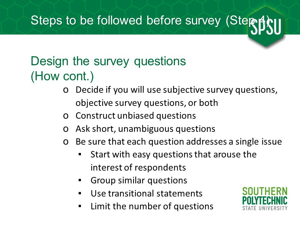 Steps to be followed before survey (Step 4)
