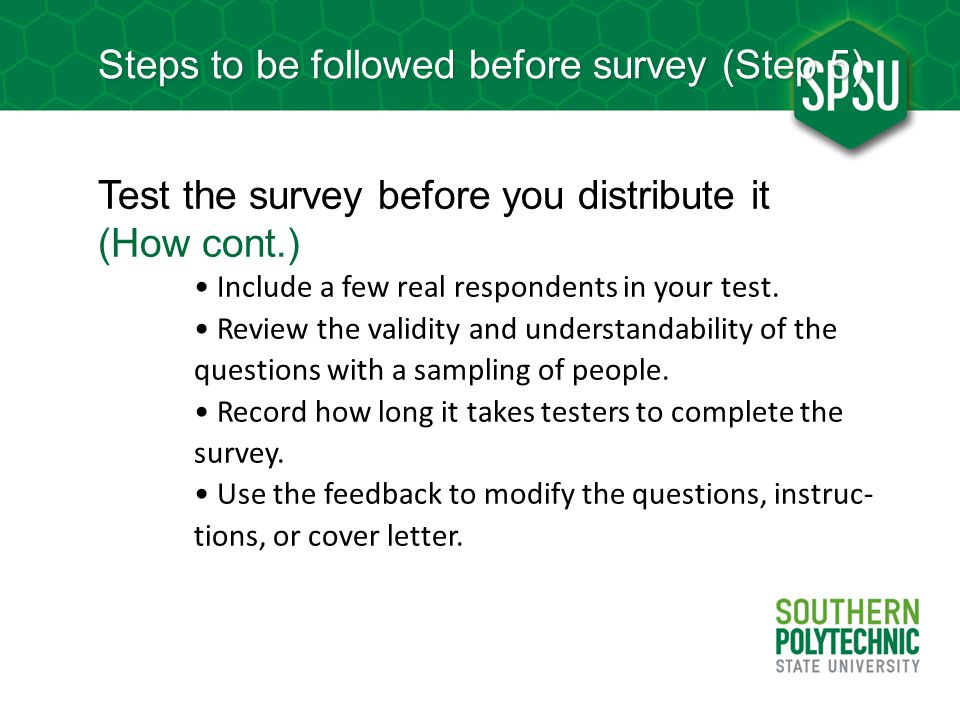 Steps to be followed before survey (Step 5)