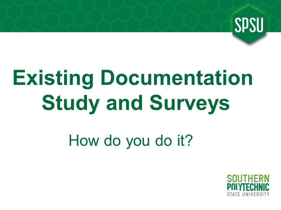 Existing Documentation Study and Surveys
