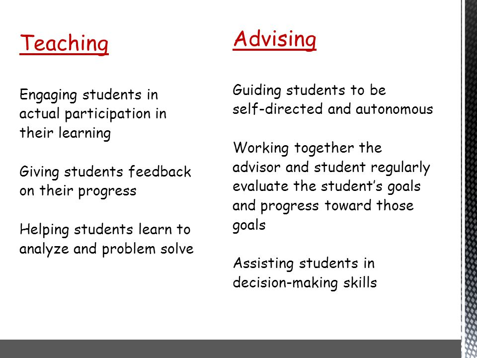 Teaching Advising Engaging students in Guiding students to be
