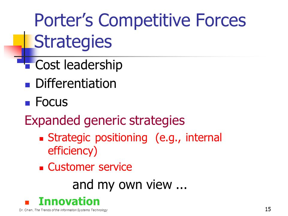Porter's Competitive Forces Strategies