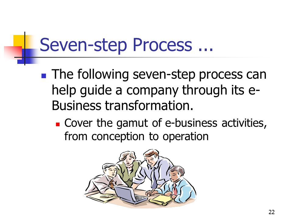 Seven-step Process ... The following seven-step process can help guide a company through its e-Business transformation.