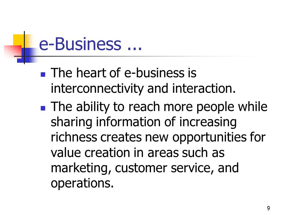 e-Business ... The heart of e-business is interconnectivity and interaction.