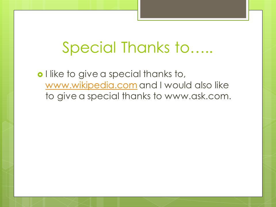 Special Thanks to…..