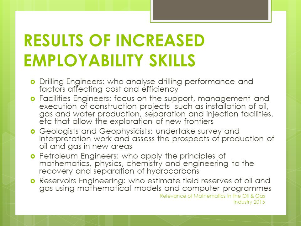 RESULTS OF INCREASED EMPLOYABILITY SKILLS