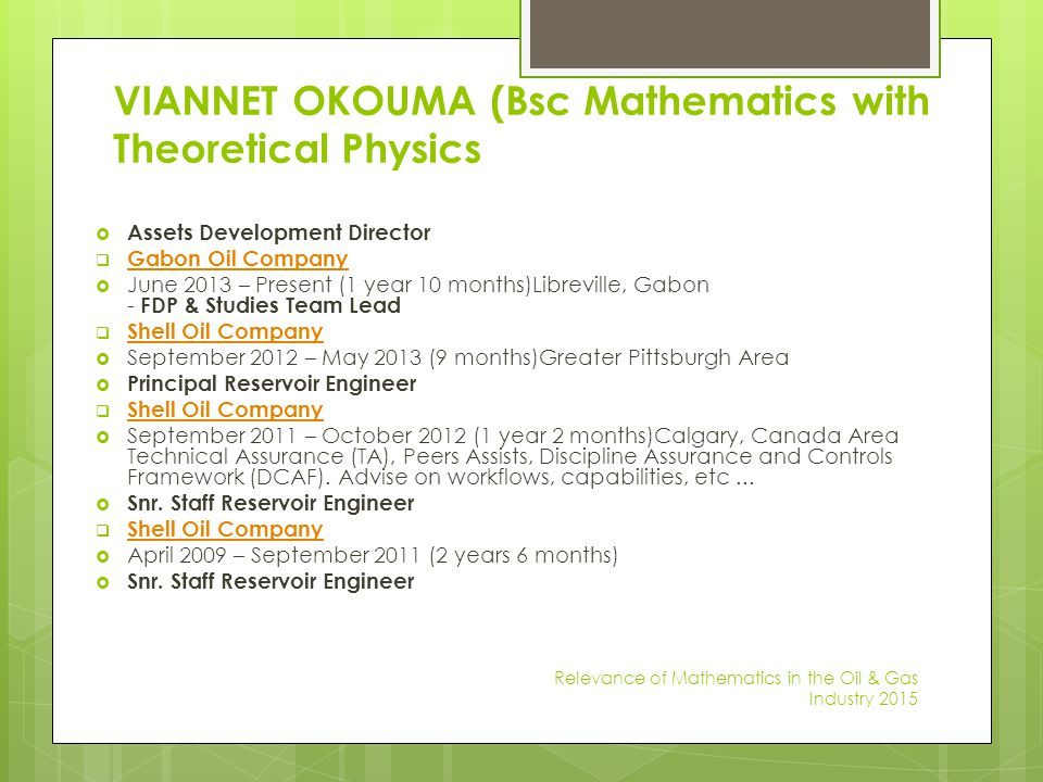 VIANNET OKOUMA (Bsc Mathematics with Theoretical Physics