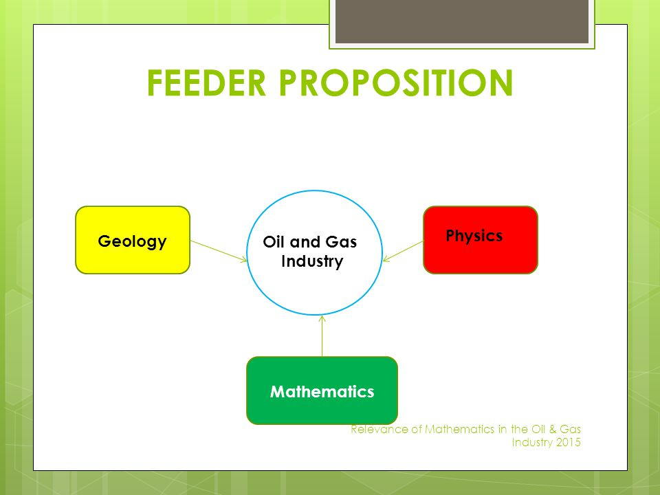 FEEDER PROPOSITION Geology OILOIL Physics Oil and Gas Industry