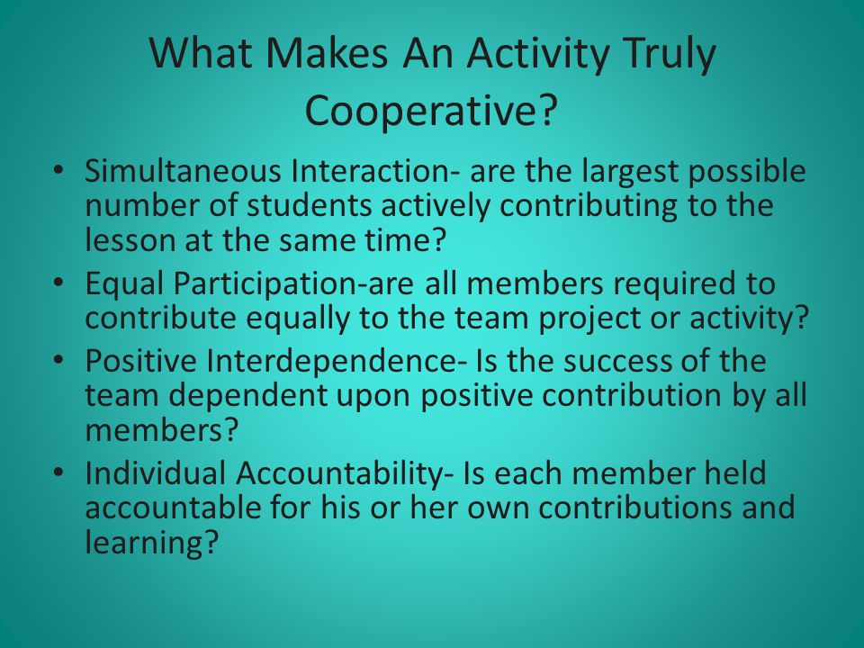 What Makes An Activity Truly Cooperative