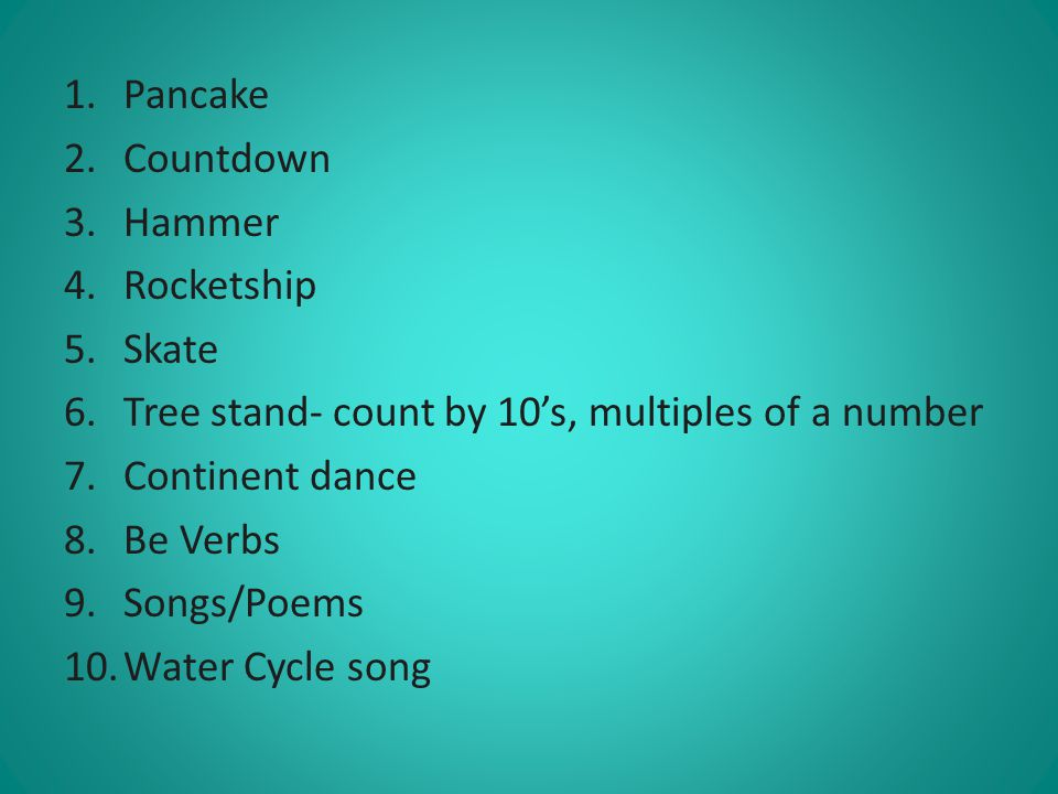 Pancake Countdown. Hammer. Rocketship. Skate. Tree stand- count by 10's, multiples of a number.