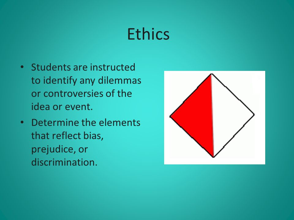 Ethics Students are instructed to identify any dilemmas or controversies of the idea or event.