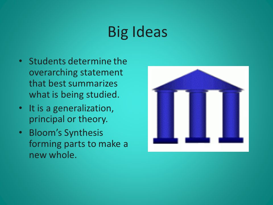 Big Ideas Students determine the overarching statement that best summarizes what is being studied. It is a generalization, principal or theory.