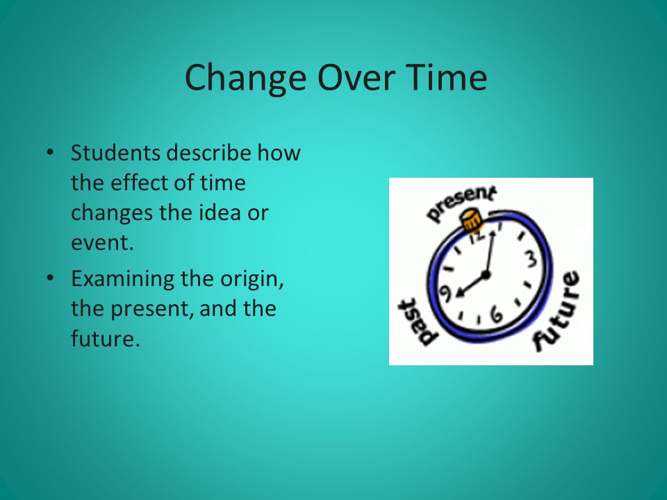 Change Over Time Students describe how the effect of time changes the idea or event. Examining the origin, the present, and the future.