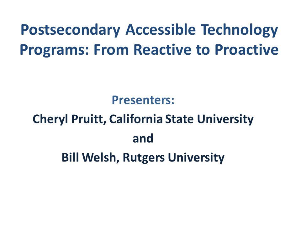 Postsecondary Accessible Technology Programs: From Reactive to Proactive