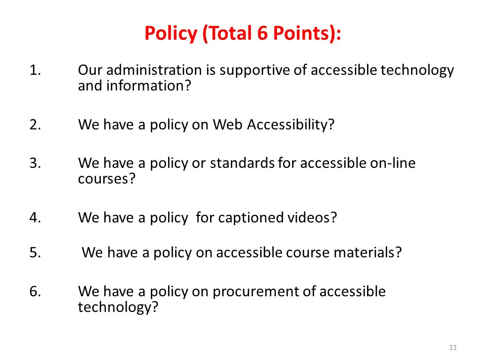 Policy (Total 6 Points):