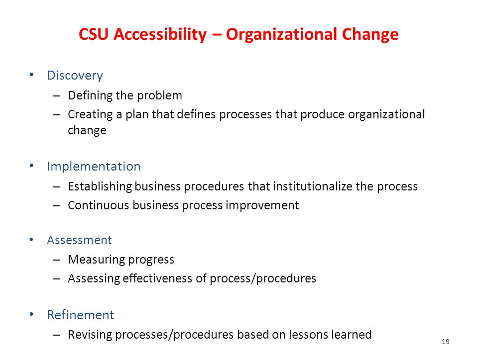 CSU Accessibility – Organizational Change