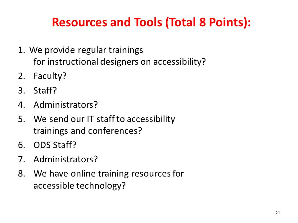 Resources and Tools (Total 8 Points):