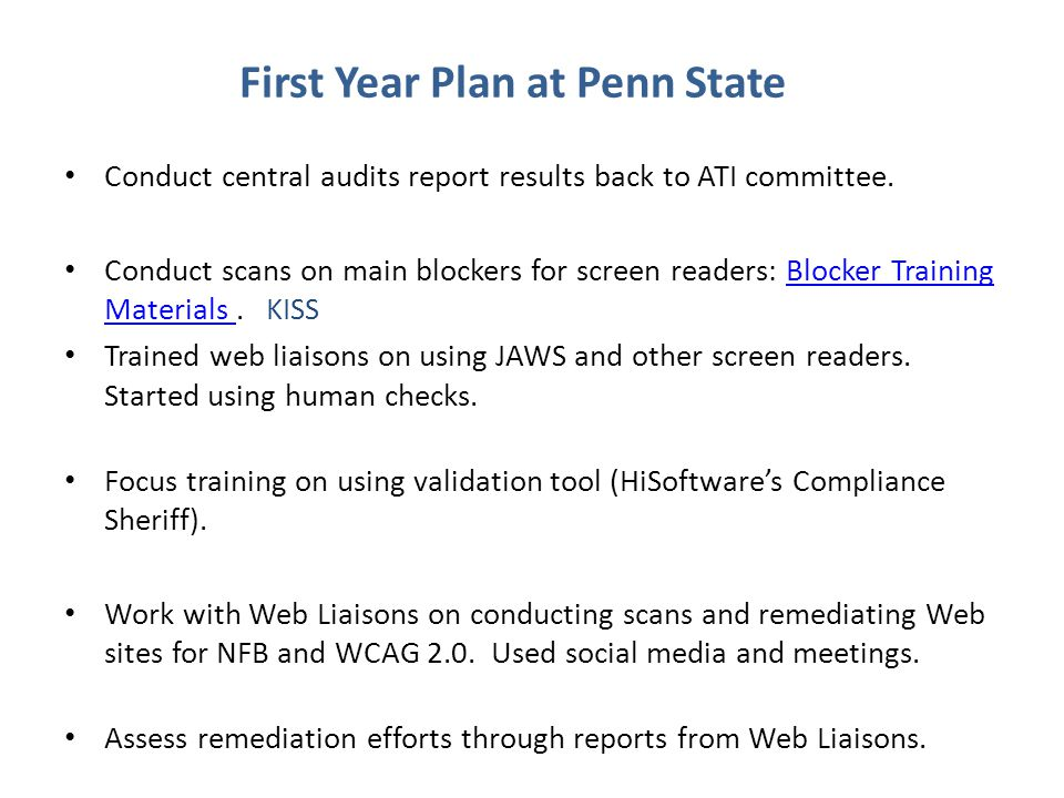 First Year Plan at Penn State