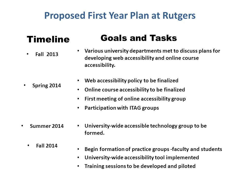 Proposed First Year Plan at Rutgers