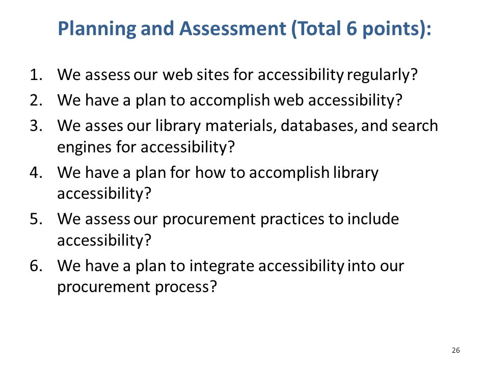 Planning and Assessment (Total 6 points):