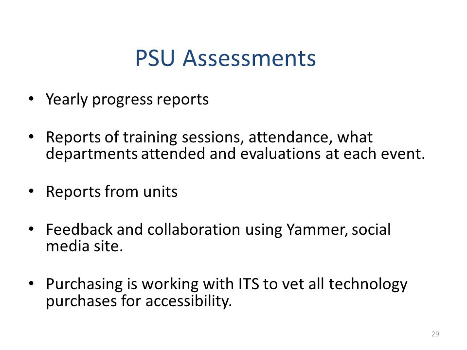 PSU Assessments Yearly progress reports