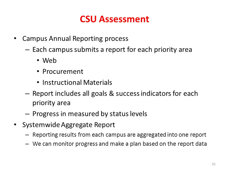 CSU Assessment Campus Annual Reporting process