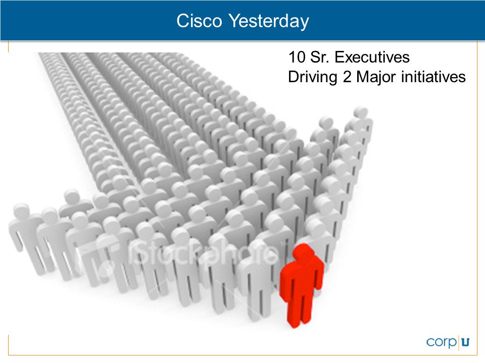 Cisco Yesterday 10 Sr. Executives Driving 2 Major initiatives