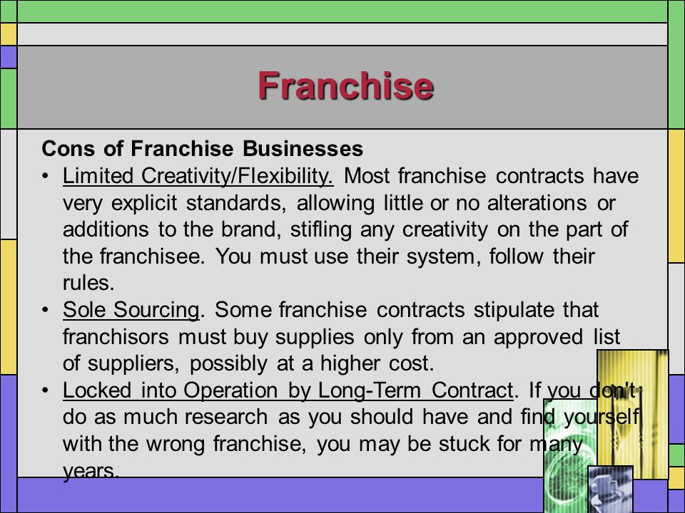 Franchise Cons of Franchise Businesses