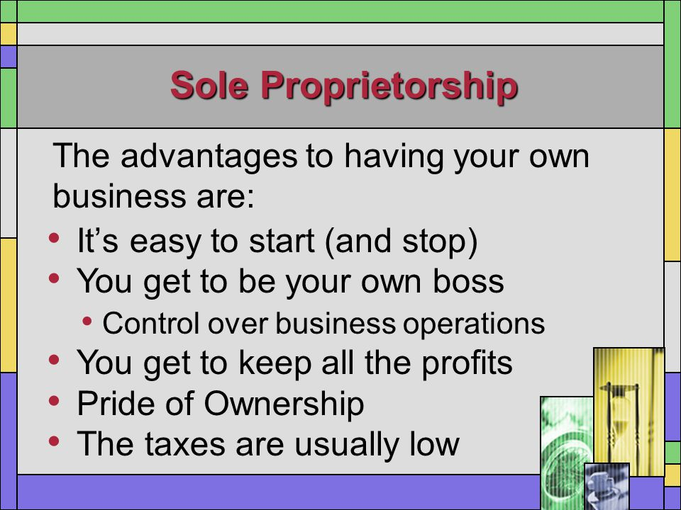 Sole Proprietorship The advantages to having your own business are: