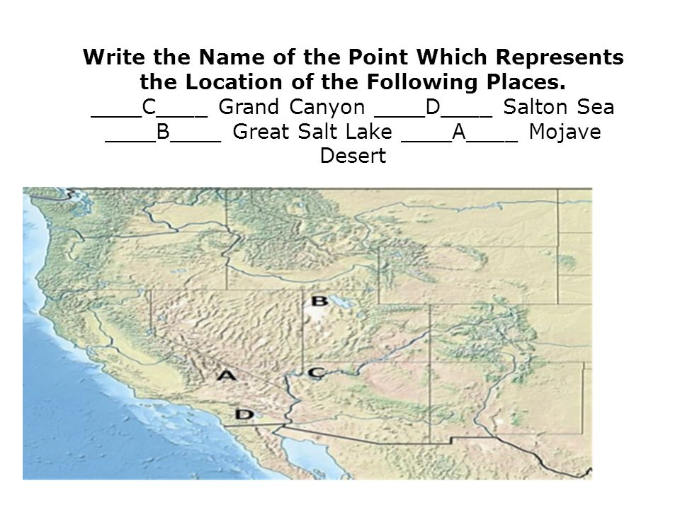 Write the Name of the Point Which Represents the Location of the Following Places.