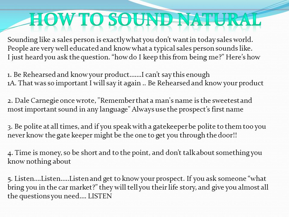 How to Sound Natural