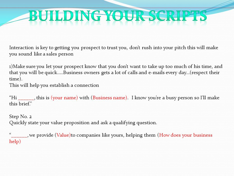 Building your scripts