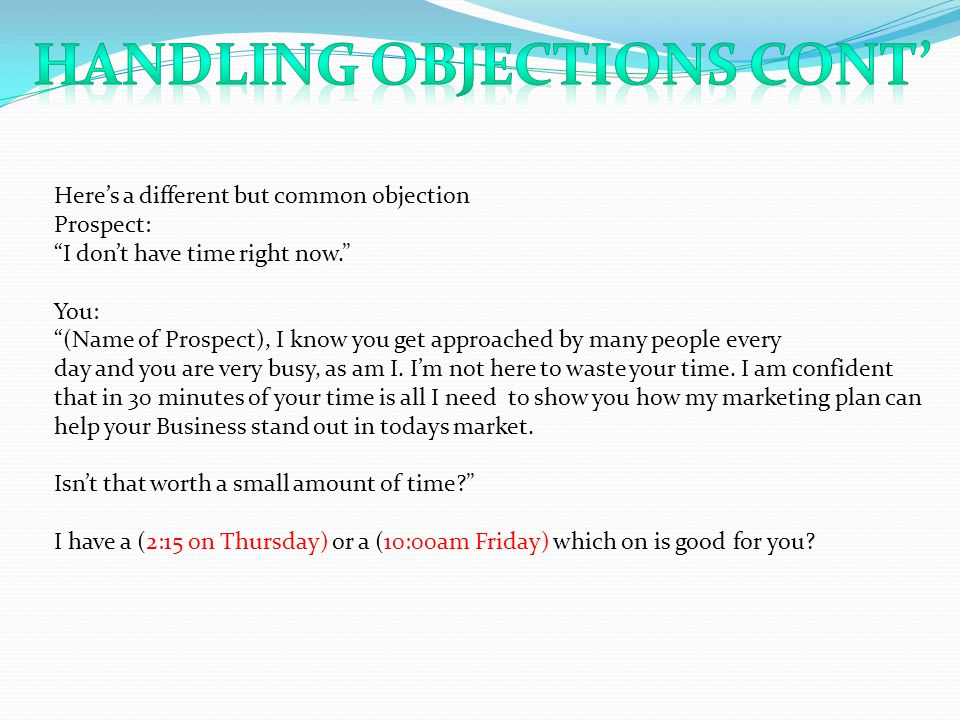 Handling Objections Cont'