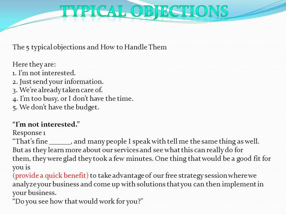 typical Objections The 5 typical objections and How to Handle Them