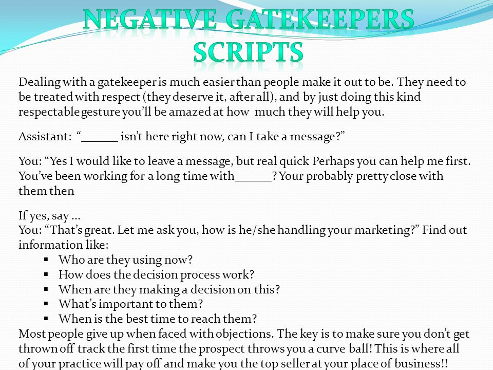 negative Gatekeepers Scripts