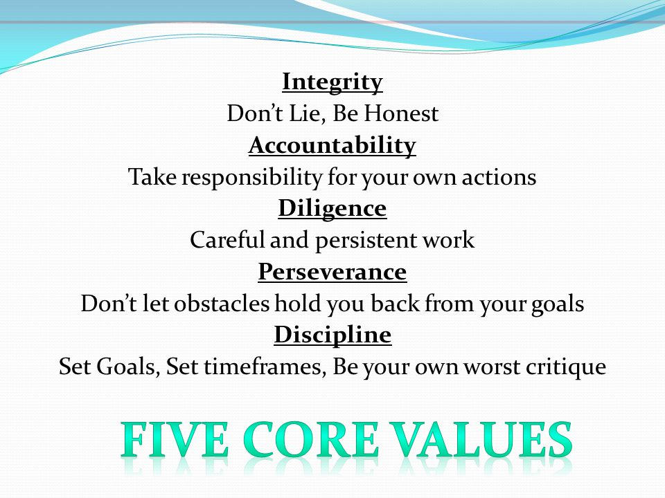 Integrity Don't Lie, Be Honest Accountability Take responsibility for your own actions Diligence Careful and persistent work Perseverance Don't let obstacles hold you back from your goals Discipline Set Goals, Set timeframes, Be your own worst critique