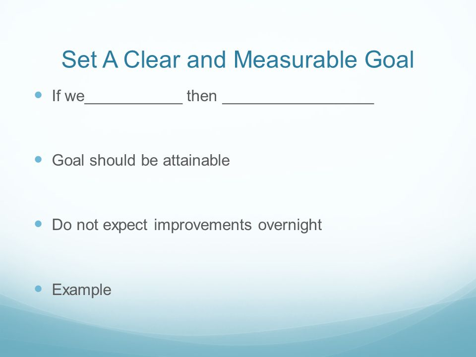 Set A Clear and Measurable Goal