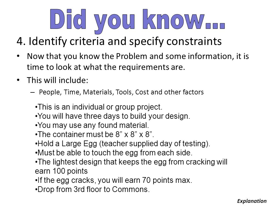 4. Identify criteria and specify constraints