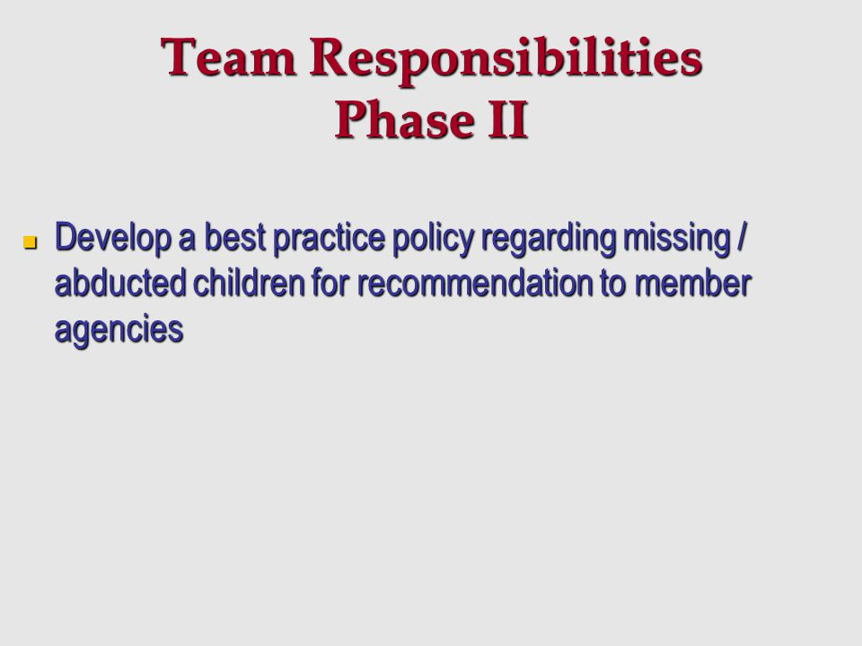 Team Responsibilities Phase II