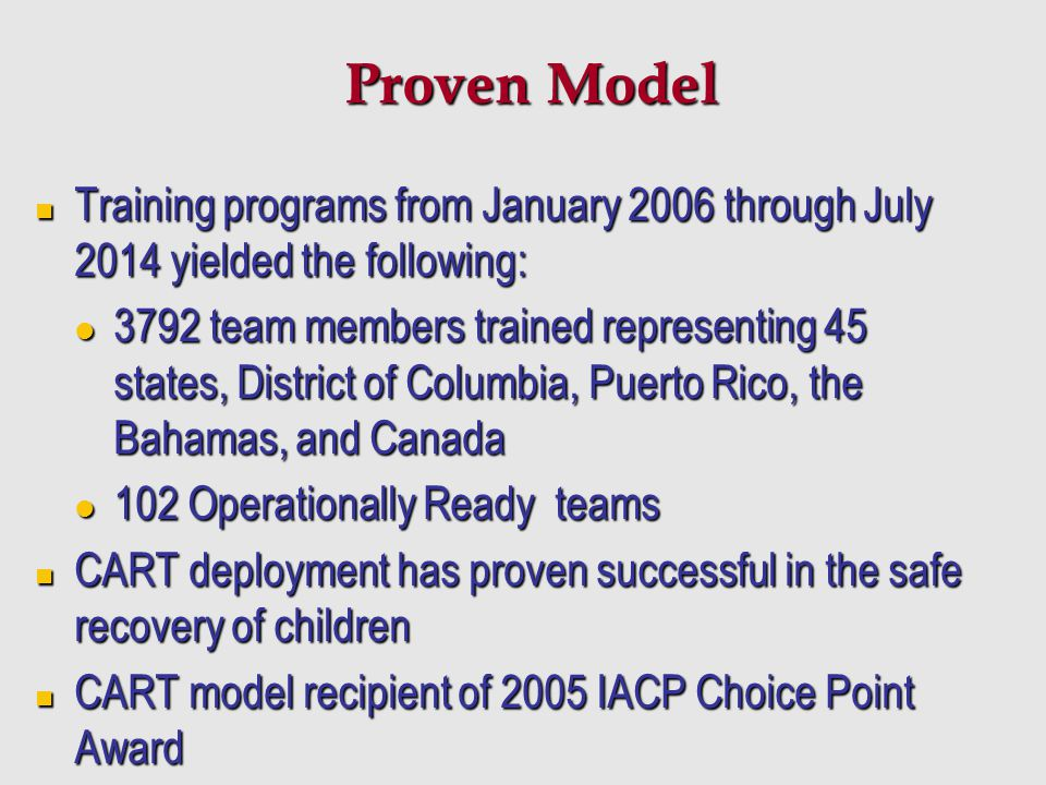 Proven Model Training programs from January 2006 through July 2014 yielded the following: