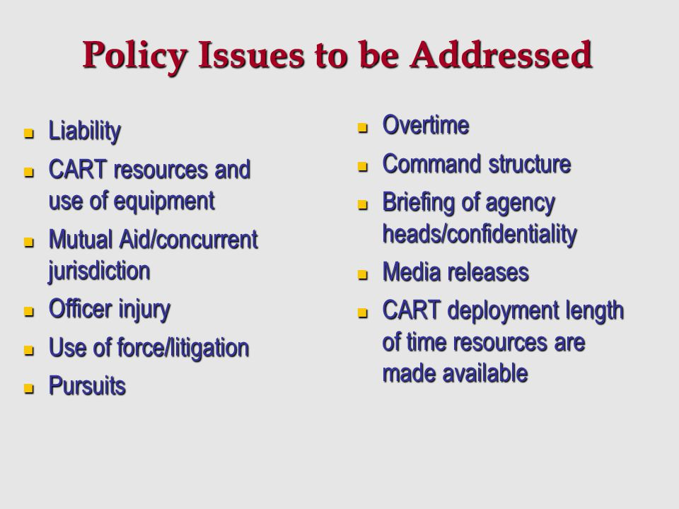 Policy Issues to be Addressed