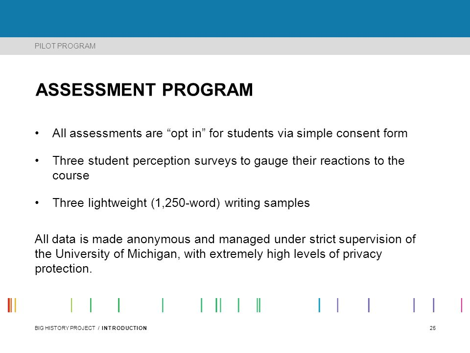 PILOT PROGRAM ASSESSMENT PROGRAM. All assessments are opt in for students via simple consent form.