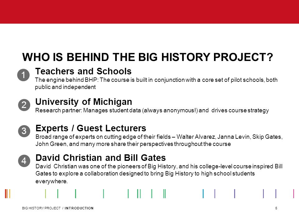 WHO IS BEHIND THE BIG HISTORY PROJECT