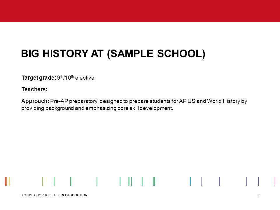 BIG HISTORY AT (SAMPLE SCHOOL)
