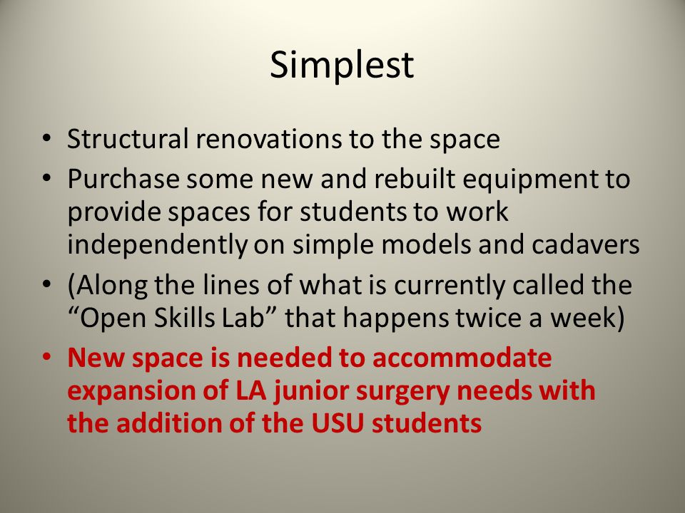 Simplest Structural renovations to the space