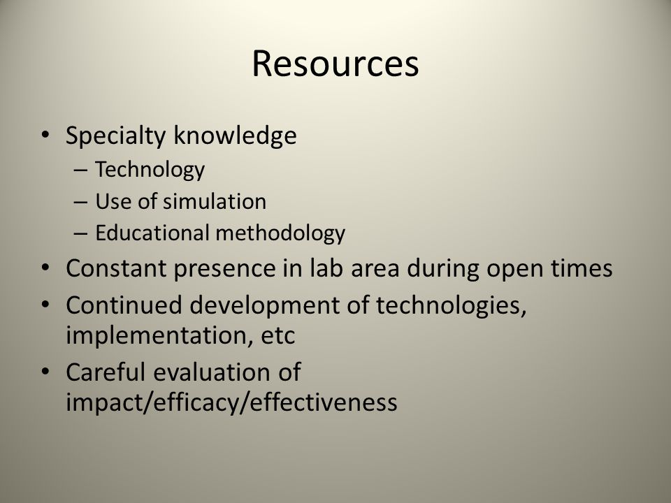 Resources Specialty knowledge
