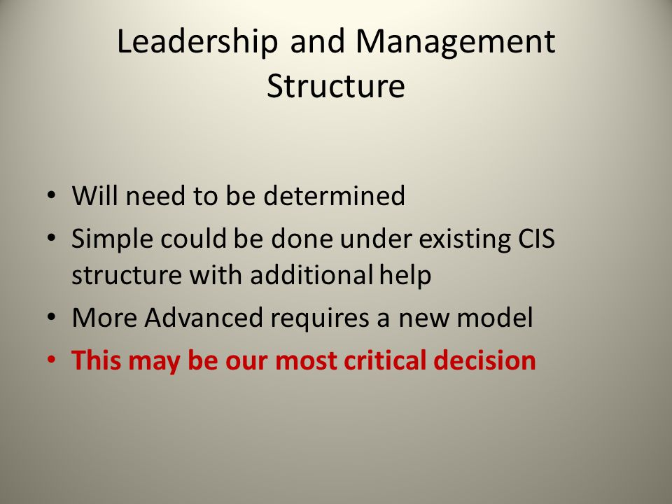 Leadership and Management Structure