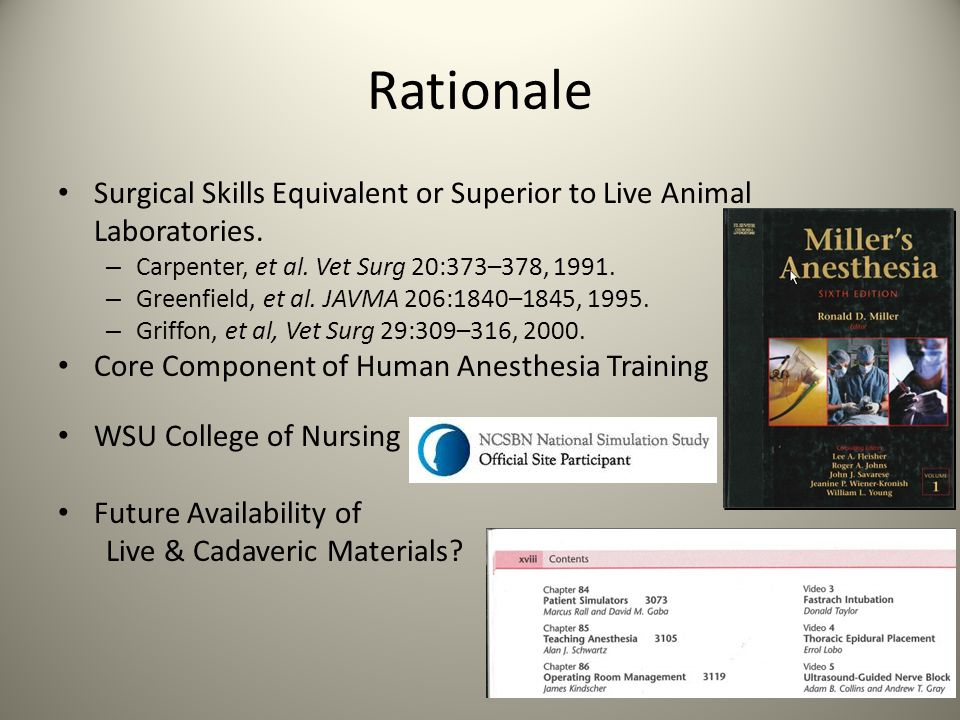 Rationale Surgical Skills Equivalent or Superior to Live Animal Laboratories. Carpenter, et al. Vet Surg 20:373–378, 1991.