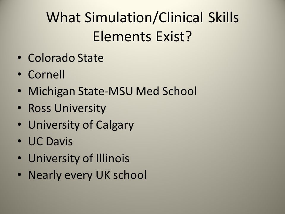 What Simulation/Clinical Skills Elements Exist