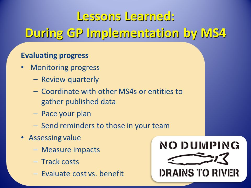 Lessons Learned: During GP Implementation by MS4